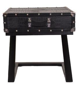 Indian Handmade Designer Genuine Black Croco Leather 1 Drawer Iron Base Bedside