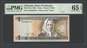 Lithuania One Litas 1994 P53a Uncirculated Graded 65
