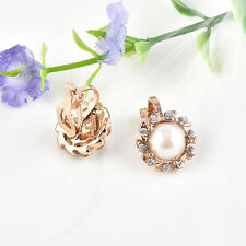 Chic Xmas Comfy Clip On Cream Ivory Pearl Rhinestone Stud Gold Plated Earrings