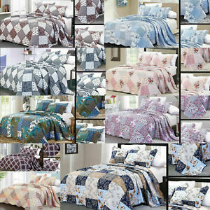Printed Patchwork Quilted Bedspread Comforter Set Bed Throw Single Double King
