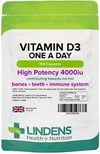 Vitamin D3 4000IU High Strength 150 Soft Gel Capsules, Immune Health Lindens