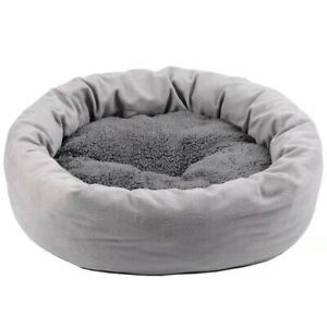 Round Velvet Pet Sleeping Pad Plush Bed W/ Removable Mat Supplies For Cat / Dog