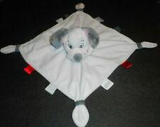 Doudou Chien Blanc Gris Dalmatien Carré Blanc Étiquettes 4 Nœuds Disney Store