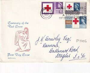 15 AUG 1963 RED CROSS CENTENARY PHOSP FIRST DAY COVER CENTURY OF SERVICE SLOGAN
