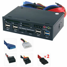 USA 5.25'' PC Front Panel Dashboard Media USB 3.0 Hub Audio eSATA Multi Card VDC
