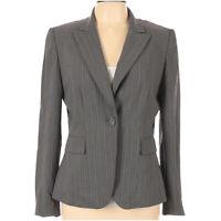 Tahari by ASL Women's Blazer Gray Size 10 Striped Jacket One Button Retail $139