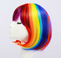 Women Girl Rainbow Colorful Multicolor Fancy Costume Party Short Bob Hair Wigs
