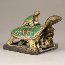 Chinese old copper Enamel Dragon Turtle Tortoise combination Seal Stamp a01