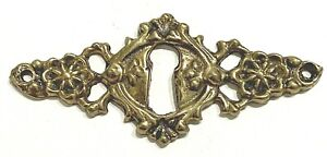 "Vintage Ornate Brass Skeleton Key hole Escutcheon 2 1/2"" x 1 1/8"""