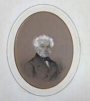 Porträt Mann Von Qualität Kohlezeichnung Unterzeichnet Und Datiert 1856 DB Stil