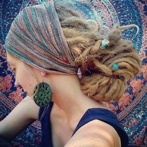 Wide Dreadlock Headband   Cotton Dread Accessories   Hippie Hair  18 Colours