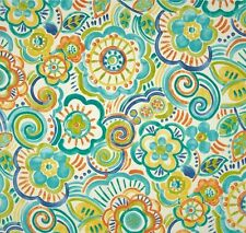 Outdoor/ Indoor ~ Upholstery ~ Retro Floral ~ Blues  ~ Fabric ~ per 1/4 yard