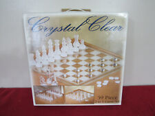 CRYSTAL CLEAR  2 in 1 Game Chess & Checker Set  59 pc
