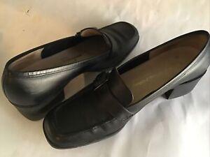 Salvatore Ferragamo Black Leather Loafer Shoes Women's Size 6 Buckle