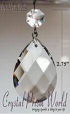 50Pck CLEAR GLASS CHANDELIER CRYSTALS PRISMS REPLACMENT SUNCATCHERS DIAMONDS/PIN