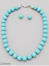 Turquoise Glass Bead Silver Tone Necklace Earring Set