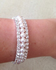 IMITATION WHITE PEARL AND CRYSTAL SPIRAL  BRACELET WEDDING BRIDE
