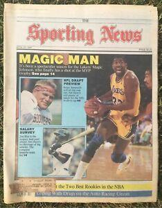 THE SPORTING NEWS-4/27/87-MAGIC JOHNSON LAKERS/BRIAN BOSWORTH/SOONERS-MAGAZINE