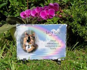 Pet Dog or Cat Memorial Slate Personalised Plaque Rectangular choice 3 colours