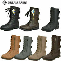 DREAM PAIRS Women's Mid Calf Boots Zipper Leather Combat Boots Flat Buckle Shoes
