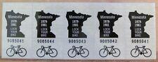 5 Minnesota 1979-1981 BICYCLE STICKERS # 9085041 thru # 9085045