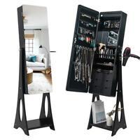 Mirror Jewelry Cabinet Dressing Armoire Organizer Storage w/Hair Dryer Rack