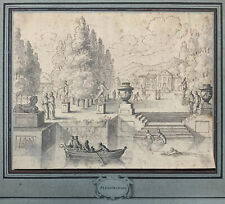 DE MOUCHERON Original Old Master Antique Dutch 17th Century Garden Ink Drawing