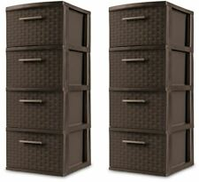 2 PACK Weave 4 Drawer Storage Cabinet Tower Dresser Home Office Organizer Brown