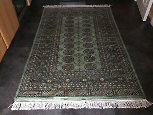 BOKHARA GREEN, 6' x 4', BRAND NEW, GENUINE, HAND-KNOTTED WOOL, FREE DELIVERY.