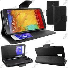 Housse Etui Coque Portefeuille Simili Cuir Noir Samsung Galaxy Note 3 Lite N7505