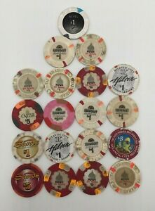 VINTAGE LOT OF 19 VARIOUS CASINO TOKENS