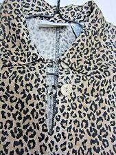 *  Womens Linen Dress Leopard Print Size 8 Sleeveless Pretty Animal Studio Ease