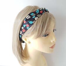 Fab & funky black skull patterned satin fabric elasticated headband - hairwrap E