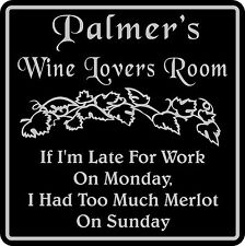 Personalized Wine Room Sign Tasting Bar Pub Family Gift  #10 Custom USA Made