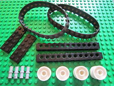 LEGO 2 BLACK Caterpillar Rubber Track + 4 Wheel + 1 x 12 Technic Brick and Pins