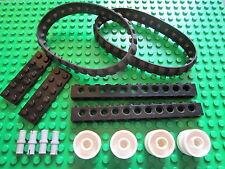 LEGO 2 BLACK Caterpillar Rubber Track + 4 Technic Wheel + 1 x 12 Brick & Pins
