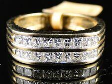MENS YELLOW GOLD 2 ROW REAL WEDDING BAND PRINCESS CUT DIAMOND 7 MM RING 1.15 CT