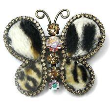 Neu BROSCHE Schmetterling SWAROVSKI STEINE crystal AB/light colorado topaz/braun