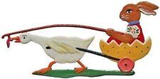 Artist Wilhelm Schweizer German Hanging Ornament Zinn- Duck Pulling Bunny in Egg