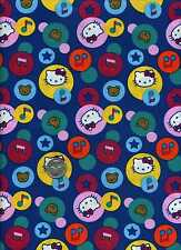 HELLO KITTY BIG TOP CIRCLES WITH IMAGES SANRIO COTTON FABRIC SOLD BY THE 1/2 YD