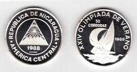 NICARAGUA - RARE SILVER PROOF 50 CORDOBAS 1988 YEAR KM#62 SAILBOAT SEOL OLYMPIC