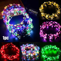 LED Festival Party Glowing Crown Flower Headband Girls Light Up Wreath Hairband