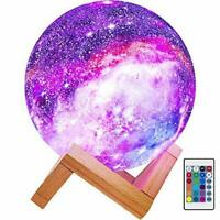 """16 Color Moon Galaxy Lamp USB Night Light Dimmable LED 3D+Remote 7.3"""" (18.5 cm)"""