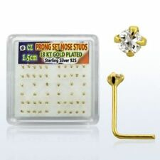 Nose Stud 925 Silver Gold Plated Yellow L-Shape Stone Clear 2 mm Piercing