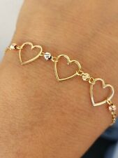 Solid 14k Gold Ball Beads 3 hearts Bracelet Diamond Cut adjustable size womans