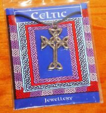 Celtic cross pendant pewter necklace