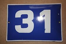 VINTAGE ENAMEL Number  PORCELAIN TIN SIGN Plate HOME / HOUSE DOOR NUMBER 31