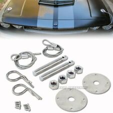 Racing Style Stainless Steel Mount Hood Pin Plate Bonnet Lock Kit Universal