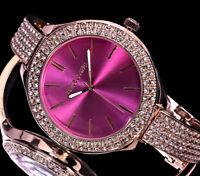 Excellanc XL Damen Armband Uhr Pink Rosegold Farben Strass Halbspange