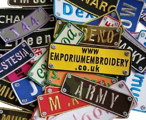 Personalised Name Embroidered Patches Sew Iron On Hook&Loop Badge Biker Applique